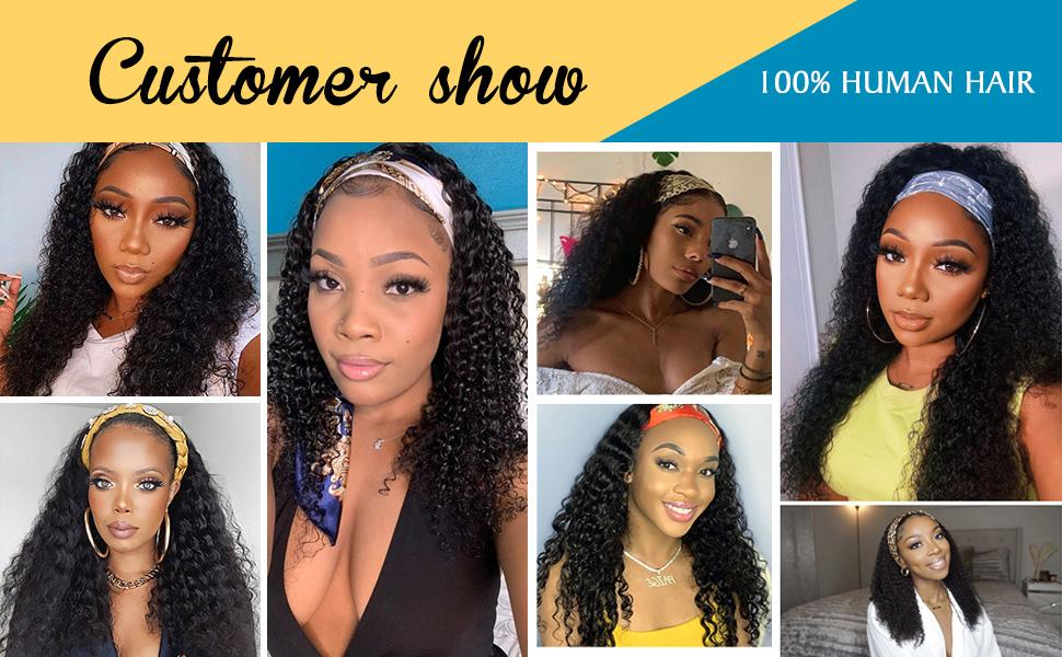 Kinky Curly Wave Human Hair None Lace Front Headband Wig