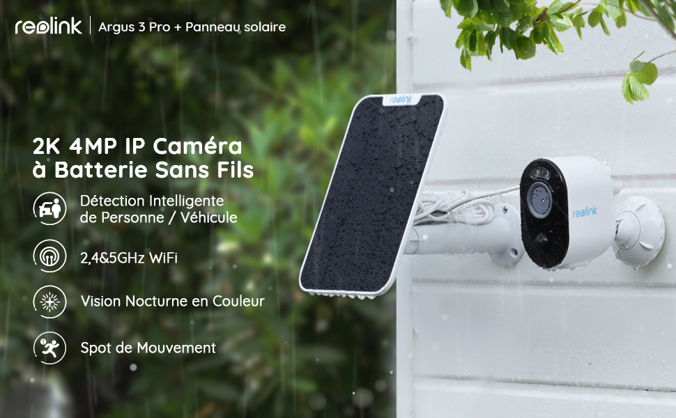 Reolink Caméra de Surveillance à Batterie Extérieure Sans Fil Argus 3 Pro avec Panneau Solaire