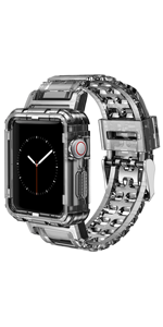 Clear watch wristband compatiable with Apple watch Pink