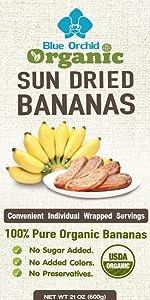 Blue Orchid Organic Sun Dried Bananas Individual Wrap