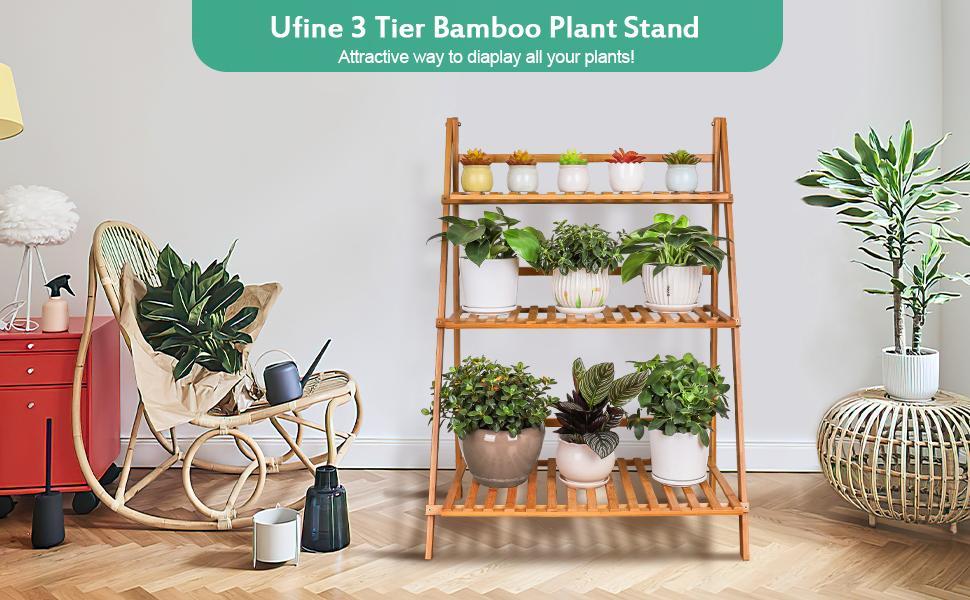 Ufine 3 tier bamboo plant stand indoor outdoor flower pot holder