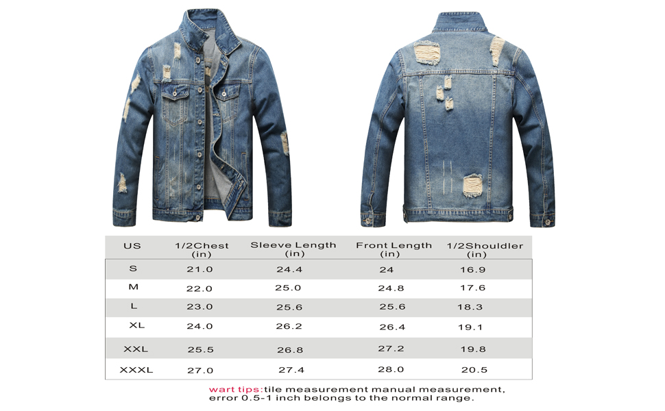 Classic Ripped Jean Jackets Coat Casual with Holes