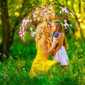 Unicorn rainbow clear bubble umbrella