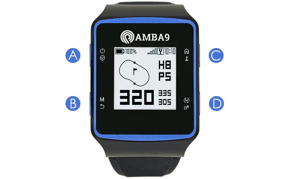 AMBA9 GPS WATCH BUTTON GUIDE GOLF MODE