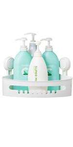 TAILI Suction Corner Shower Caddy Bathroom Shower Shelf Storage Basket Wall Mounted Organizer