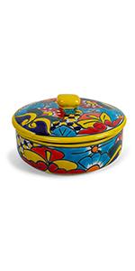yellow tortilla warmer ceramic talavera