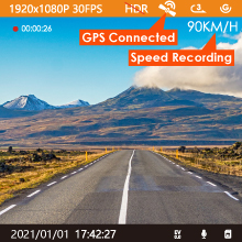 dash cam with gps and spped