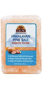 Okay Himalayan Pink Salt Body and Foot Detoxifying Pumice Stone, 10.5 oz