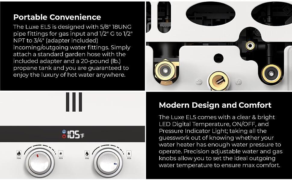 Eccotemp Luxe temperature adjustable knobs