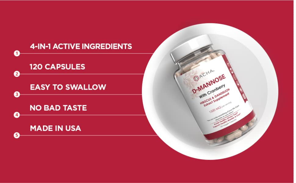 DACHA D-Mannose contains 4-in-1 Active Ingredients, with 120 easy to swallow capsules made in USA.