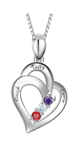 Personalized Mother necklace with 3 Stone Engraved Names