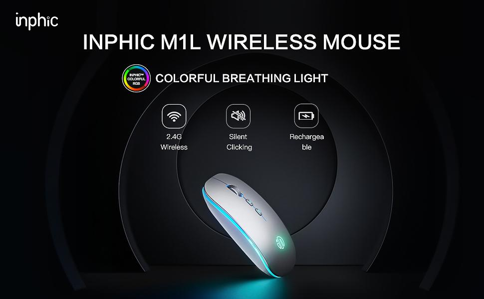 INPHIC M1L WIRELESS MOUSE LED WIRELESS MOUSE DUAL MODE BLUETOOTH MOUSE RECHARGEABLE SILENT MOUSE