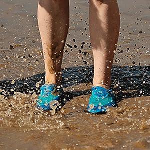Mens aqua swim shoe lightweight outdoor swimming wild durable non-slip slip-on stretchy beach pool
