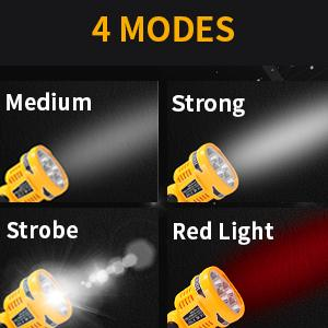 Setting with medium strong strobe red light 4 modes
