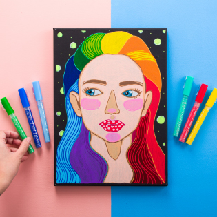 Painting of a girl in vibrant colors that represent the brand Chalkola