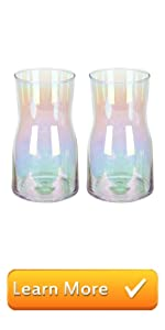 Colorful Iridescent Style Modern Translucent Decorative Clear Glass Flower Vase