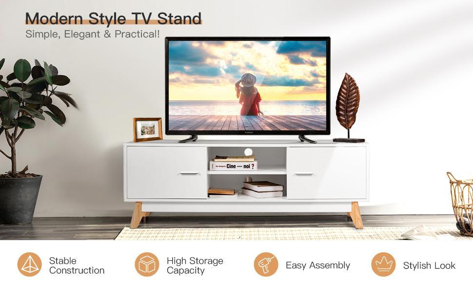 Modern White TV Stand