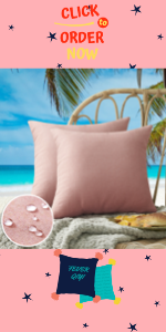 Pink outdoor pillow covers for patio