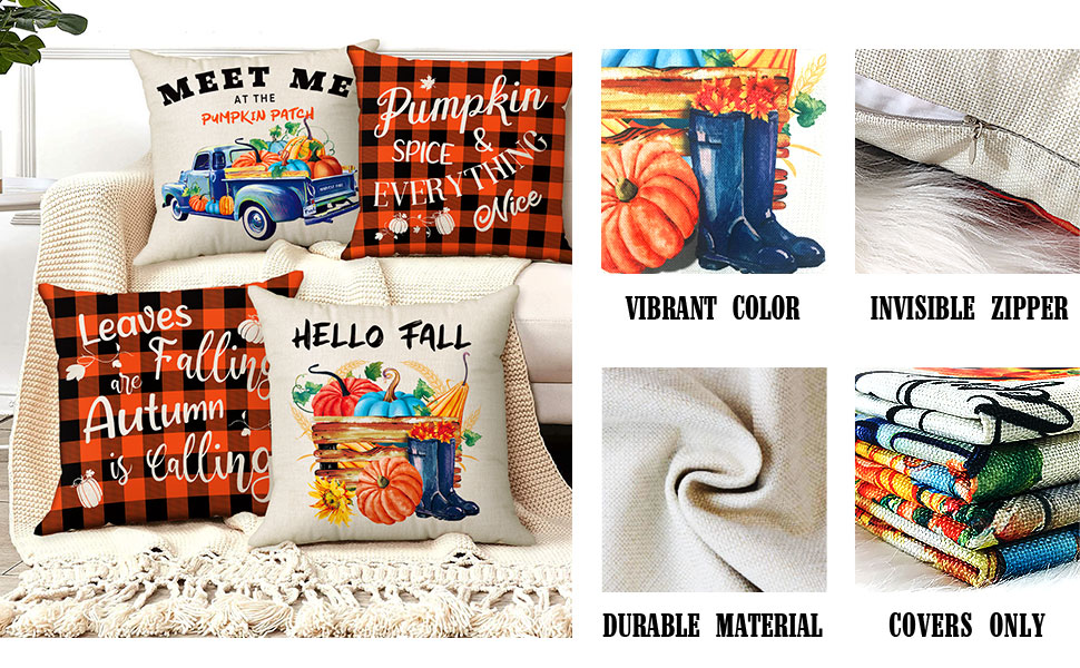 18x18 fall pillow covers set of 4