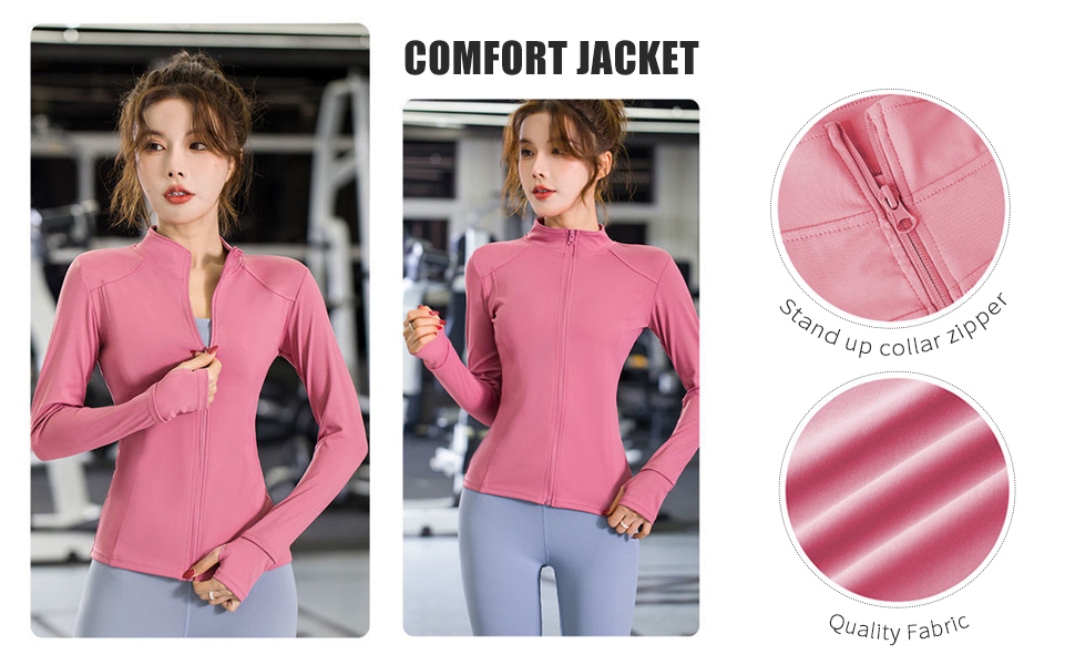 Details Display of Flygo Women's Stretchy Full Zip Sports Gym Jacket Seamless Workout Tops