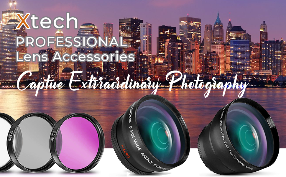 58mm lens accessories kit bundle wide angle 2x telephoto filters uv canon dslr camera rebel