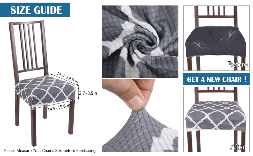 chair seat covers size guide