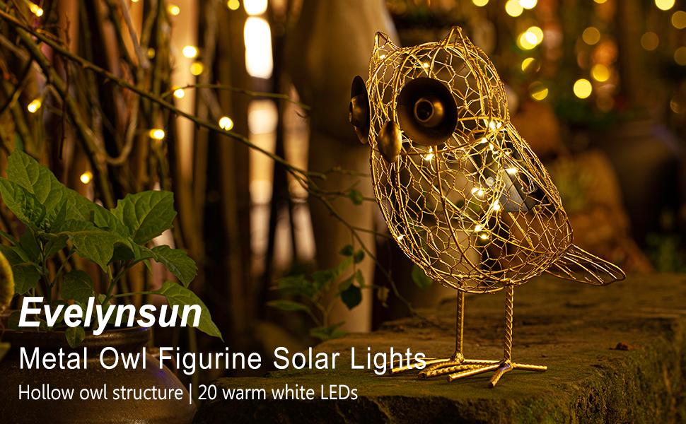 Metal Owl Figurine Solar Lights