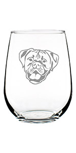 Design of a happy Boxer face with natural ears, engraved onto a stemless wine glass