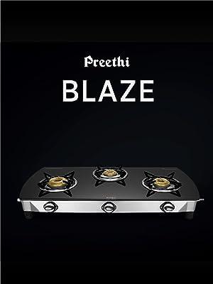 Preethi Blu Flame Glass Top 3 Burner Gas Stove, Manual Ignition, Black