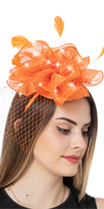 Orange fasciantor hat for women with  bling rhienstones for women tea party headband
