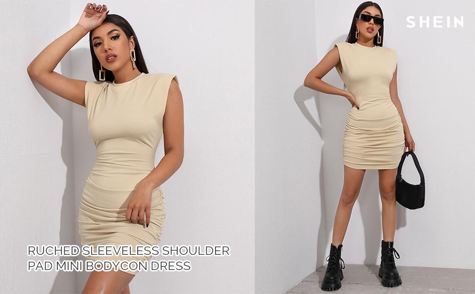 women ruched sleeveless mini bodycon dress
