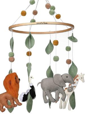 baby crib mobile cute minimalist 3D hang decor babies decoration boys giraffe design elephants lion