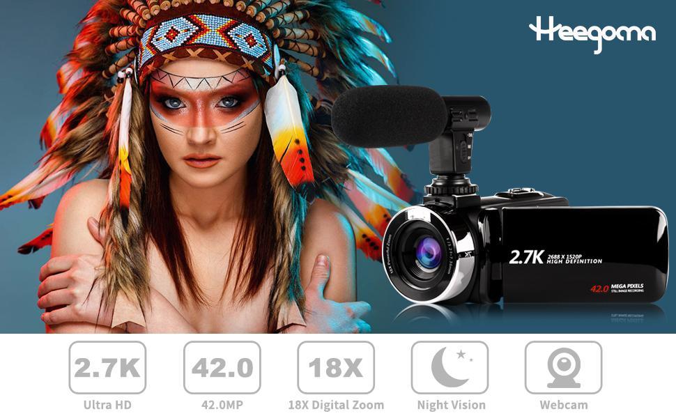 Heegomn 2.7K Video Camera Cacmorder