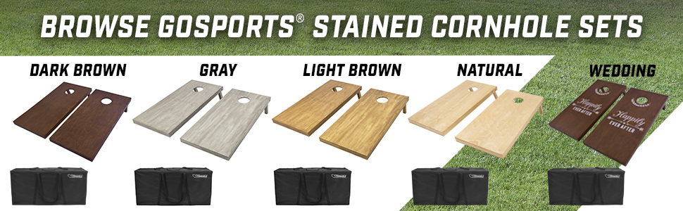 gosports cornhole wood stained bean bag toss game set color options