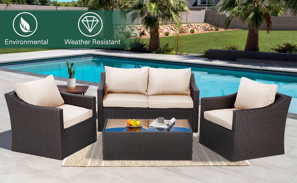 4 Pcs Patio Furniture Sets Retro Wicker PE Rattan Conversation Furniture Set