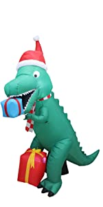 7 Foot Tall Christmas Inflatable Dinosaur with Gift Boxes