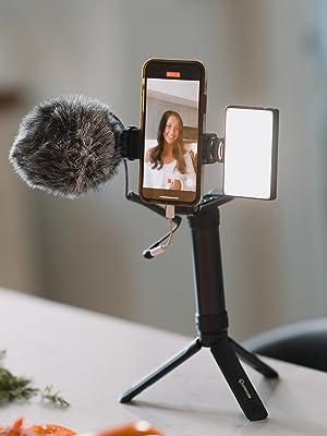 mobile content creator lumecube instagram light mic microphone phone stand mount