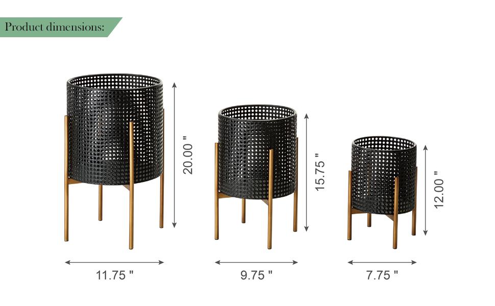 Set of 3 Black Faux Wicker Metal Pot Planter Stand