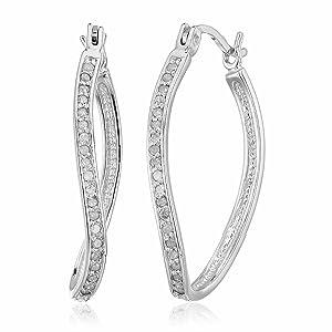 Vir Jewels 1/4 cttw Diamond Hoop Earrings .925 Sterling Silver 1 Inch
