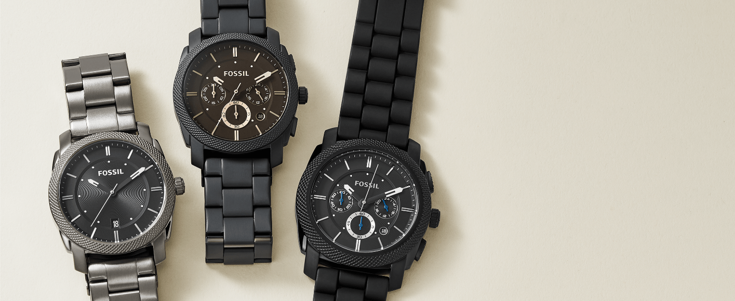 Fossil Machine Men's Watches in Silver, Gunmetal and Black
