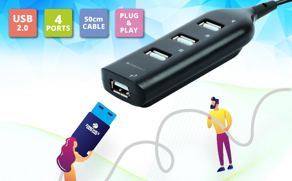 Zebronics ZEB-90HB USB Hub,Zebronics USB Hub,USB Hub,4-Port USB 2.0 Hub