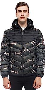 rokka and rolla mens camo lightweight puffer jacket winter coat