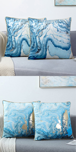BLUE GOLD THROW PILLOW COVERS