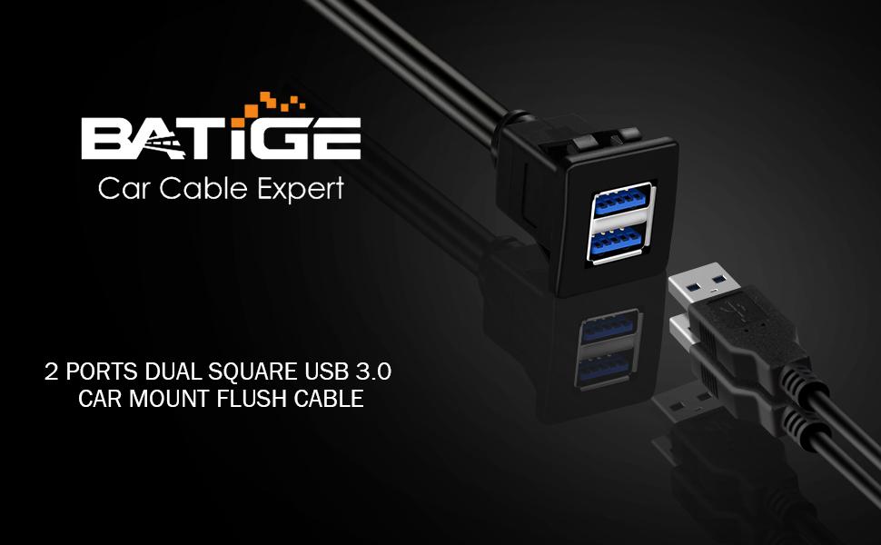 BATIGE - 2 PORTS DUAL SQUARE USB 3.0 CAR MOUNT FLUSH CABLE