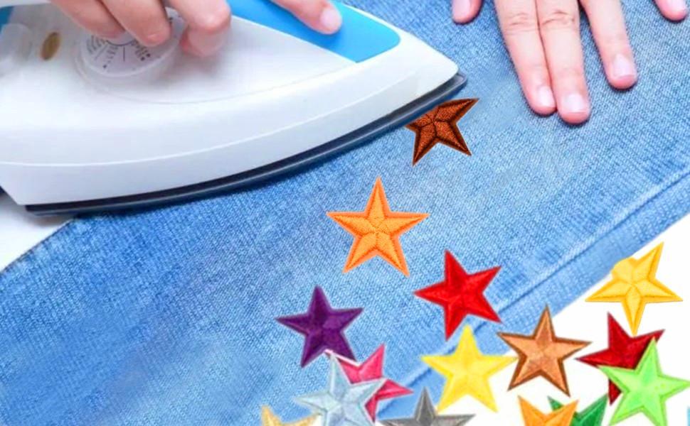mini star iron on patches