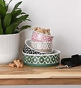 Stack of lattice pet food bowls
