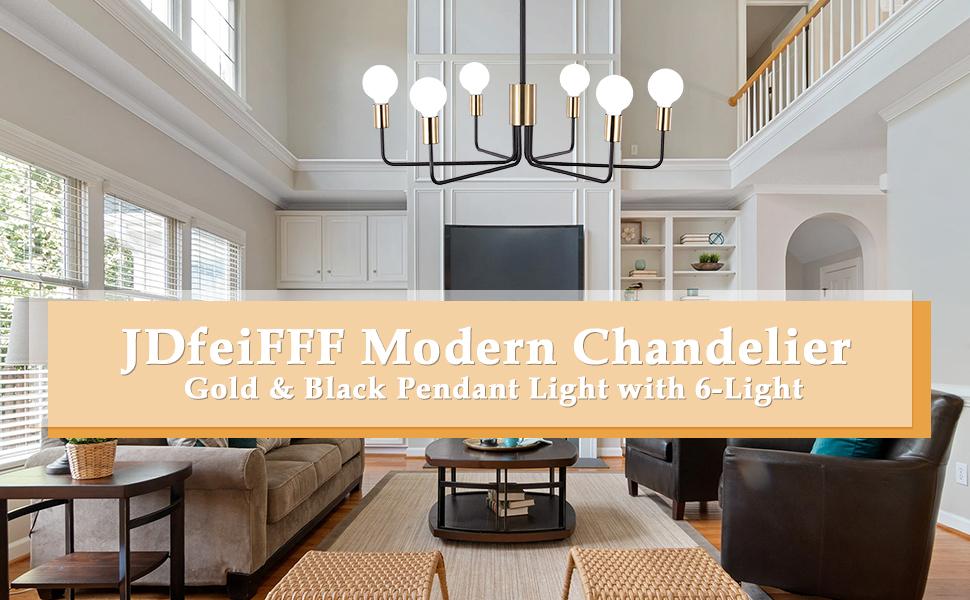 JDfeiFFF Modern Chandelier Gold amp; Black Pendant Light with 6-Light