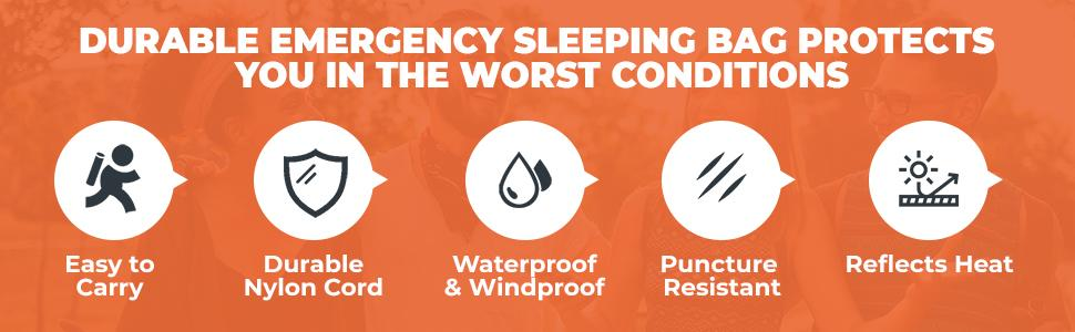 Durable emergency sleeping bag protects you in extreme conditions