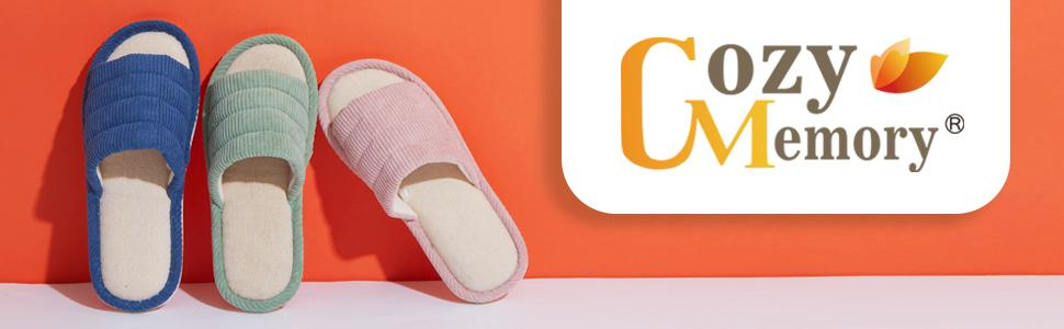 cozy memory absorb sweat memory foam corduroy open toe slippers for women men