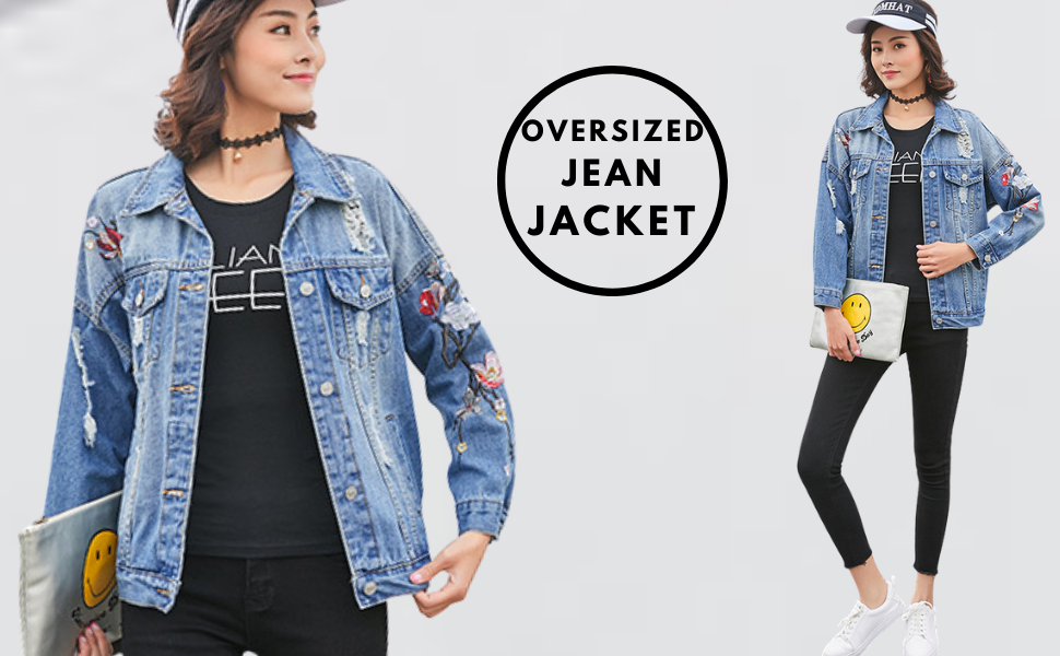 Women Oversize Ripped Denim Jacket Biker Casual Long Sleeves Jeans Coat Overcoat